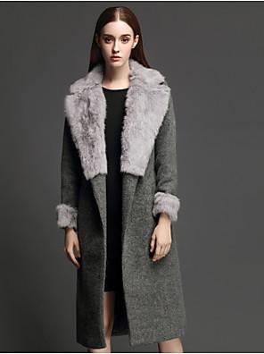 Casual/hétköznapi Egyszerű Téli-Női Kabát,Egyszínű Hosszú ujj Szürke Pamut Vastag