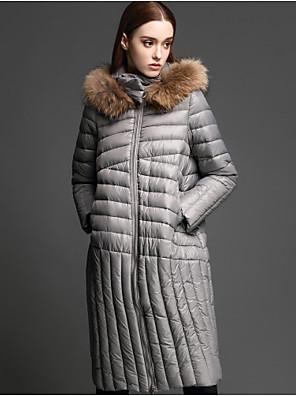 Casual/hétköznapi Egyszerű Kabát-Női Egyszínű Szokványos Sportos kabátok Nejlon Fehér kacsapehely Kapucni Hosszú ujj Fekete / Szürke