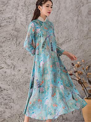 Dames Casual/Dagelijks Vintage Recht Jurk Bloemen-Opstaand Midi Driekwart mouw Blauw Zijde Herfst Medium taille Micro-elastisch Medium