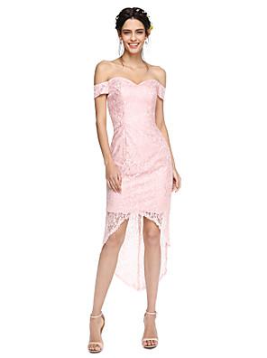 Lanting Bride® Assimétrico Renda Sensual / Transparente Vestido de Madrinha - Tubinho Ombro a Ombro com Renda