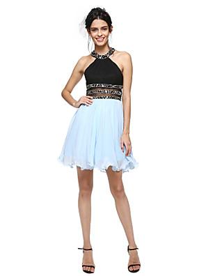 TS Couture® Koktejlový večírek Šaty - Krásná záda / Mini já A-Linie Klenot Krátký / Mini Bavlna s Korálky