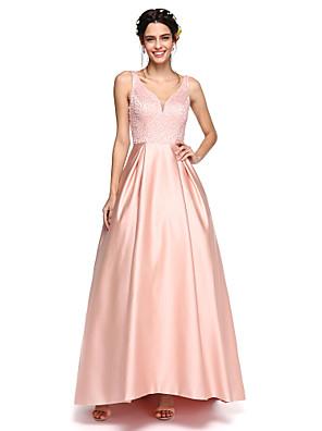 Lanting Bride® א-סימטרי סאטן נוצץ וזוהר שמלה לשושבינה - גזרת A צווארון וי עם חרוזים / קפלים
