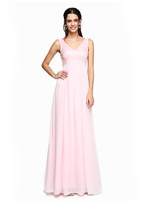 Lanting Bride® עד הריצפה שיפון / תחרה אלגנטי שמלה לשושבינה - גזרת A צווארון וי עם קפלים
