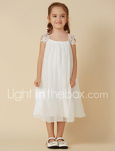 68aa3825ef9 Ίσια Γραμμή Μέχρι το γόνατο Φόρεμα για Κοριτσάκι Λουλουδιών - Σιφόν /  Δαντέλα Αμάνικο Scoop Neck