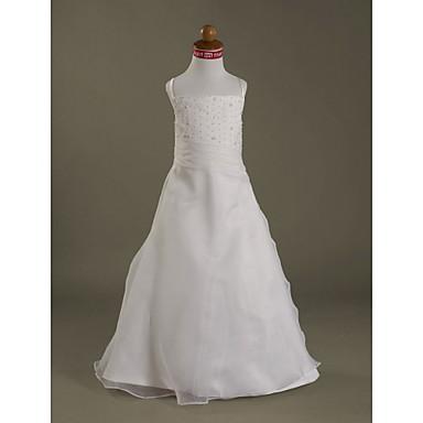 LAN TING BRIDE A-line Princess Floor-length Flower Girl Dress - Organza Satin Spaghetti Straps with Beading Ruffles Side Draping