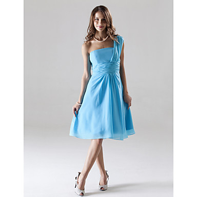 Lanting Bride® Knee-length Chiffon Bridesmaid Dress - A-line One Shoulder Plus Size / Petite with Ruching