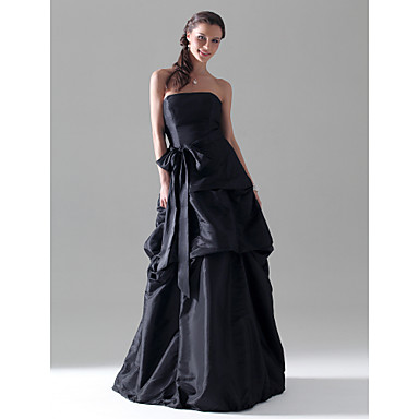 Lanting Bride® Floor-length Taffeta Bridesmaid Dress - A-line / Princess Strapless Plus Size / Petite withBow(s) / Pick Up Skirt / Sash /