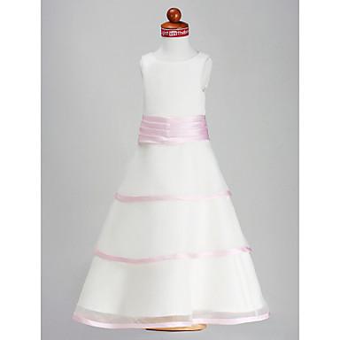 LAN TING BRIDE A-line Princess Floor-length Flower Girl Dress - Organza Satin Scoop with Flower(s) Sash / Ribbon Ruching
