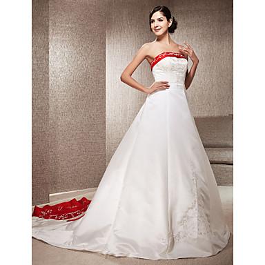 Lanting Bride® A-line / Princess Petite / Plus Sizes Wedding Dress - Classic & Timeless / Elegant & Luxurious Wedding Dresses in Color