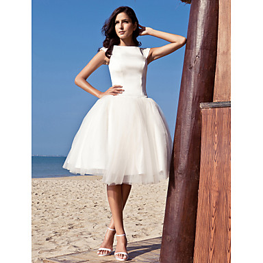 LAN TING BRIDE Princess Wedding Dress - Chic & Modern Reception Little White Dress Knee-length Bateau Satin Tulle with Draped