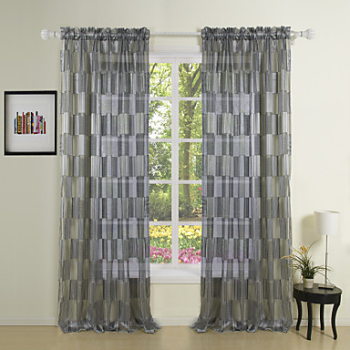 two panels plaid check tartan black bedroom polyester sheer curtains