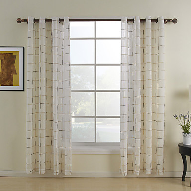 One pair grommet top white plaid classic sheer curtain 863361 2016