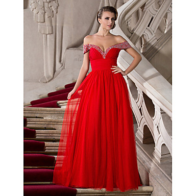 TS Couture® Prom / Formal Evening / Military Ball Dress - Sexy Plus Size / Petite A-line / Princess Off-the-shoulder / Sweetheart Floor-length Chiffon