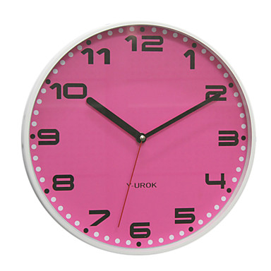 """11.5""""H Modern Style Pink Dial Wall Clock in Metal"""