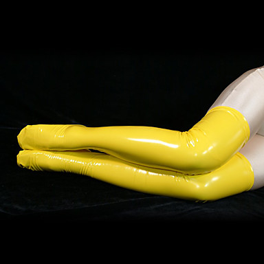 Buy Socks/Stockings Ninja Zentai Cosplay Costumes Yellow Solid Stockings PVC Unisex Halloween / Christmas