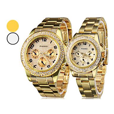 couple s gold steel band quartz wrist