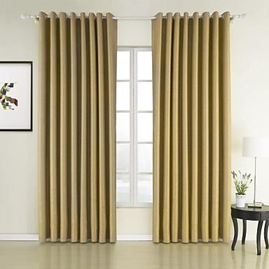 To paneler neoklassisk solid gul soverom polyester panel gardiner ...
