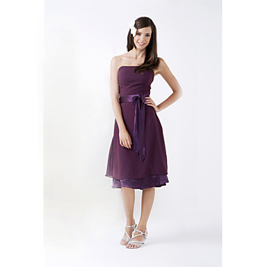 LAN TING BRIDE Knee-length Strapless Bridesmaid Dress - Open Back Sleeveless Chiffon Stretch Satin