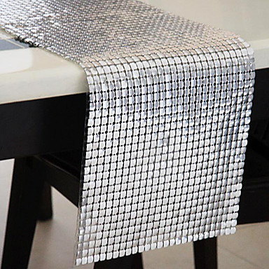 Silver as per picture polyester table runners 590002 for Chemin de table etoile