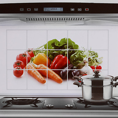 Buy 75x45cm Vegetables Pattern Oil-Proof Water-Proof Hot-Proof Kitchen Wall Sticker