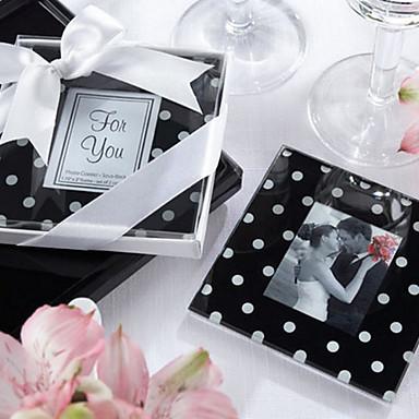 """Mod Dots"" Black & White Polka-Dot Glass Photo Coasters"