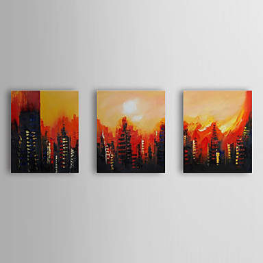 Hand Painted Oil Painting Landscape Cityscape with Stretched Frame Set of 3 1...