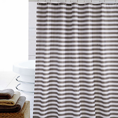 Shower Curtain Polyester Brown Stripes Print Thick Fabric Water Resistant W71 X L71 892741