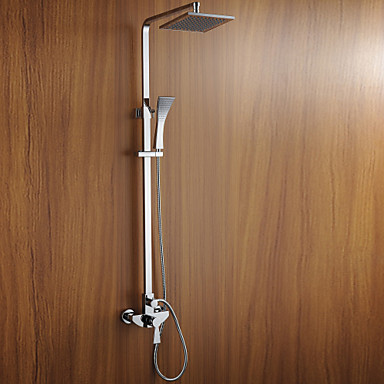 Buy Contemporary Wall Mounted Widespread Ceramic Valve Two Handles Three Holes Chrome , Shower Faucet