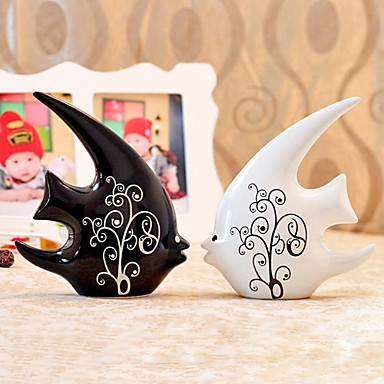 """11""""Country Style Kiss Fish Type Ceramic Collectibles(2 PCS)"""
