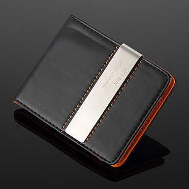 Personalized Gift Silver Metal and PU Leather Metal Money Clip (within 10 characters)