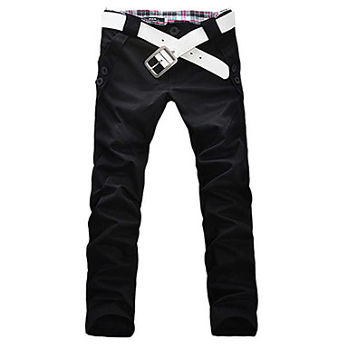 Men's Stylish Designed Straight Slim Fit Trousers Casual Long Pants