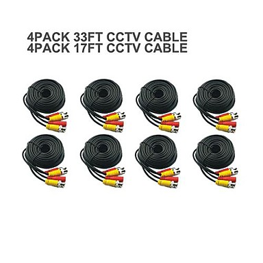Buy 4 PACK 17FT + 33FT BNC Cable Power Video Plug Play CCTV Camera System Security