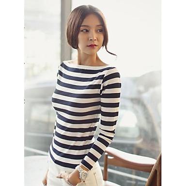 Women 39 s boat neck stripe long sleeve casual t shirt for Boat neck t shirt women s