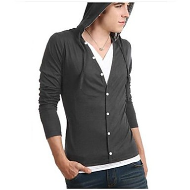 Men's Casual/Daily Short Cardigan,Solid Long Sleeve Cotton