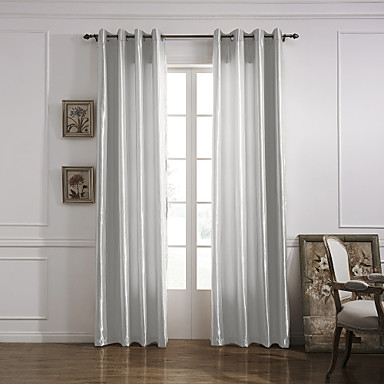 (One Panel Grommet Top) Modern Minimalist White Solid Energy Saving Curtain