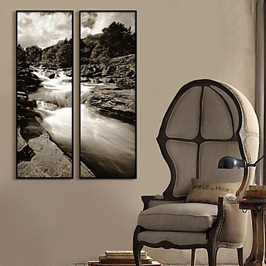 Black And White View Framed Canvas Print Set of 2