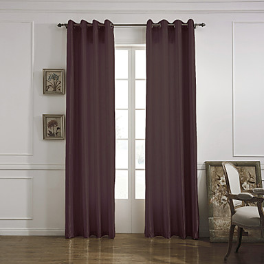 (One Panel Grommet Top) Modern Minimalist Chocolate Solid Energy Saving Curtain