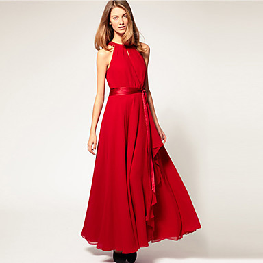 Vestido de chiffon vermelho