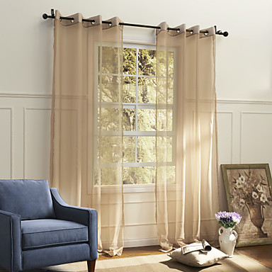 (One Panel Grommet Top) Country Elegant Beige Solid Eco-friendly Sheer Curtain