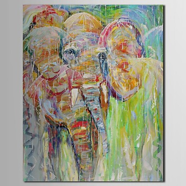 Hand Painted Oil Painting Animal Elephant with Long Nose with Stretched Frame