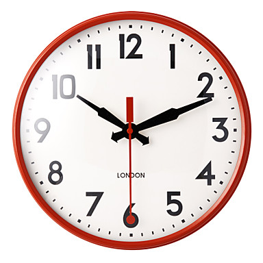 """11.2"""" Red Metal Frame Glass Dial White Background Wall Clock"""