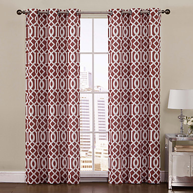 (One Panel) Aaron Rust Printed Grommet Top 84 inch Curtain