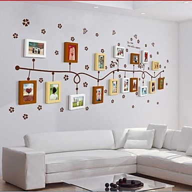 3 Colors Photo Frame Set of 17 with Wall Sticker