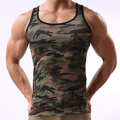 Men's Sport Camouflage Army Green Tank Vest
