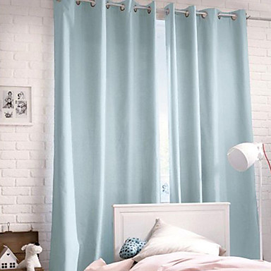 (One Panel Grommet Top) Modern Minimalist Light Blue Solid Curtain