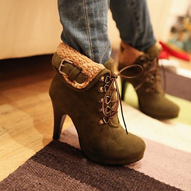 Women's Spring Summer Fall Winter Leatherette Dress Stiletto Heel Lace-up Black Brown Green Gray