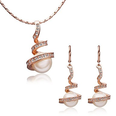 Buy Women's 18K Rose Gold Annulus Pearl Green Crystal (Necklace&Earrings) Jewelry Sets