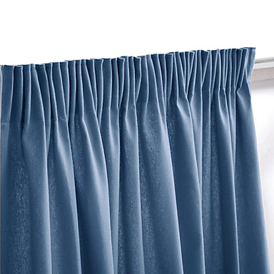 (One Panel Rod Pocket) Modern Minimalist Navy Blue Solid Blackout Curtain