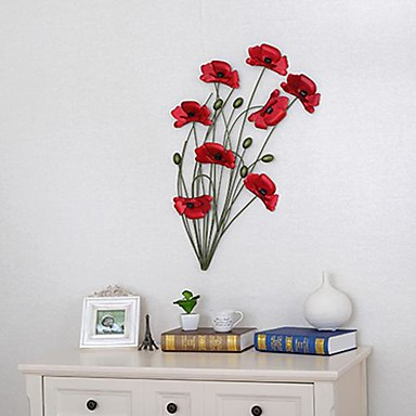 Wrought iron poppy wall act the role ofing 1 for Deco murale originale metal