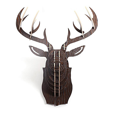 North European Creative Household Adornment Wall Cogged Structure Wood Elk Head Ornaments
